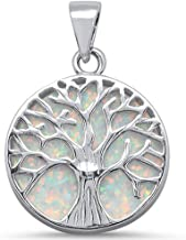 Oxford Diamond Co Round Opal Tree of Life Design .925 Sterling Silver Pendant Colors Available!