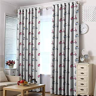 Motorcycle 100% blackout lining curtain Classic Pink and Blue Mopeds in Symmetrical Positions Retro Bike Ride Full shading treatment kitchen insulation curtain W72 x L96 Inch Pale Pink Baby Blue