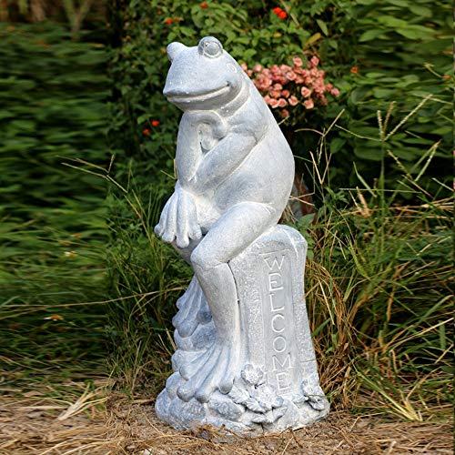 Skulpturengarten Retro Yoga-Frosch-Garten-Dekoration Garten Villa Landschaft Tierskulptur Verschiedene Waren Ornament (Farbe : Weiß, Größe : 29x30x76cm)