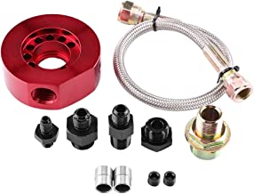 Qiilu Car Engine Oil Supply Oil Filter Adapter Conversion Kit,Sandwich Plate Oil Cooler Adapter Kit for Honda Acura LS B20(Red)