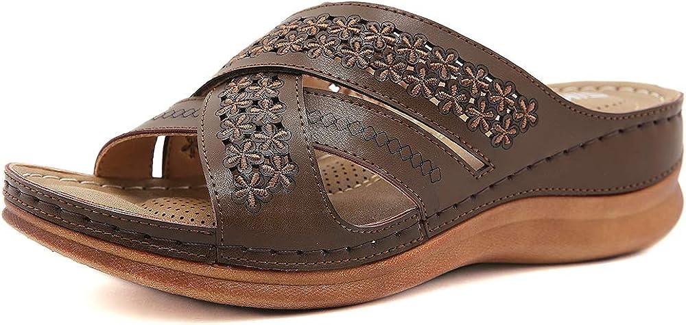 ZAPZEAL Ladies Sandals Women's Wedge Open Toe Sandals Boho Beach Flats Flip Flops Cross-Band Summer Hollow Out Flower Sandals Size 6-10 US