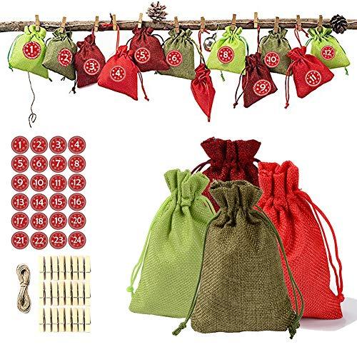 ZUOQUAN 24 Bolsas De Yute para Rellenar, Bolsa De Tela, Bolsita, Pegatina De Navidad, Calendario Adviento Saquitos, Calendario De Navidad De 1-24 Números De Adviento Adhesivos