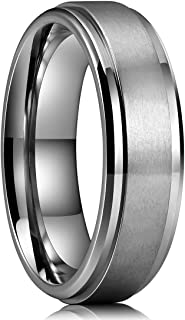 Basic 4mm 6mm 7mm 8mm 9mm Mens Titanium Wedding Ring Brushed Finished Wedding Band Comfort Fit Stepped Edge