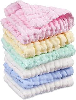 Toallas de Baño para Bebé de Muselinas de Algodón Pequeñas Paquete de 6 Piezas, 30 x 30 cm Toallitas de Baño para Recién Nacidos, Toallas de Lavabo Extra Suaves para Bebé