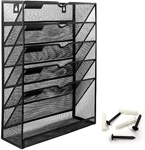 Bonsaii Estantería colgante con 6 niveles, malla metálica para revistas, carpeta de pie robusta A4 para la pared, soporte para periódicos, caja de archivos, bandeja para documentos, color negro