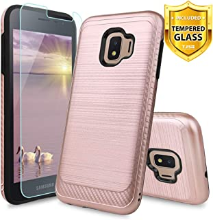TJS Phone Case for Samsung Galaxy J2 Core/J2 2019/J2 Pure/J2 Dash/J2 Shine, with [Tempered Glass Screen Protector] Hybrid Shockproof Resist Metallic Brush Finish Hard Inner Layer Cover (Rose Gold)