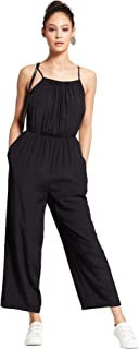 Mossimo Women's Jumpsuit with Shirred Neckline (Black, XXL)