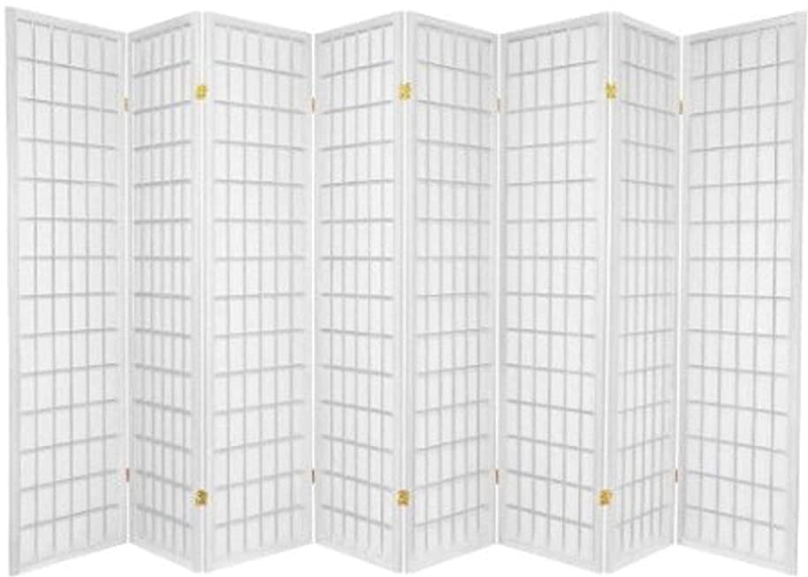 Legacy Decor Japanese Oriental Style Room Screen Divider, 8 Panels, White Color