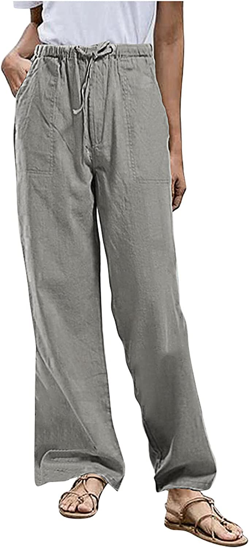 MASZONE Summer Wide Leg Pants for Women Elastic Waist Loose Plus Size Athletic Pants Cotton Linen Casual Cropped Trouser