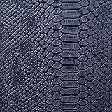 1 m marineblau – Eidechsen-Prägung Kunstleder/Vinyl mit