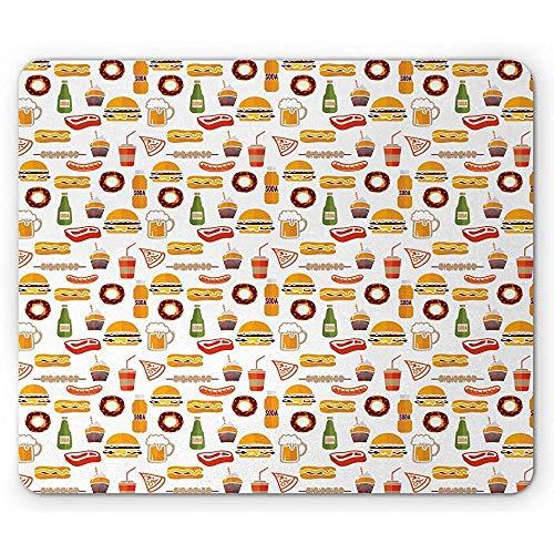 Alfombrilla de ratón antideslizante, diseño minimalista de comida rápida con donuts de hamburguesas, cerveza, cupcake, kebab caliente, alfombrilla rectangular de goma antideslizante