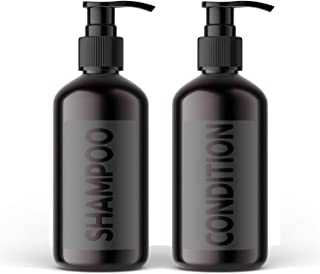 AylaMae Modern Refillable Shampoo and Conditioner Dispensers Black 500ml / 16.9oz PET Plastic Bottles with Leak Proof Pumps | Pre-Applied Water Proof Labels