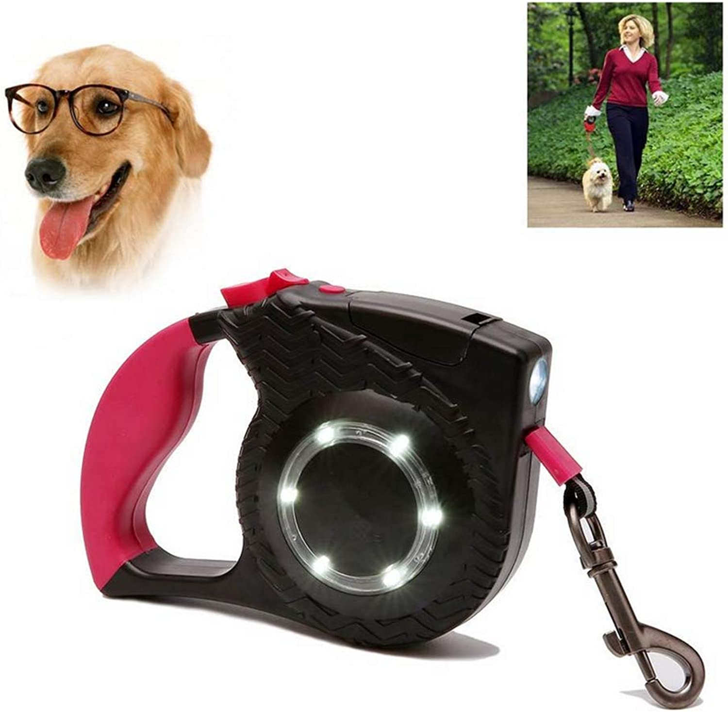 Dog Retractable Leads Heavy Duty Pet Leashes Portable Walk Jogging Suitable for 35kg Small and Medium Pets with LED Light, Three colors Optional 4m
