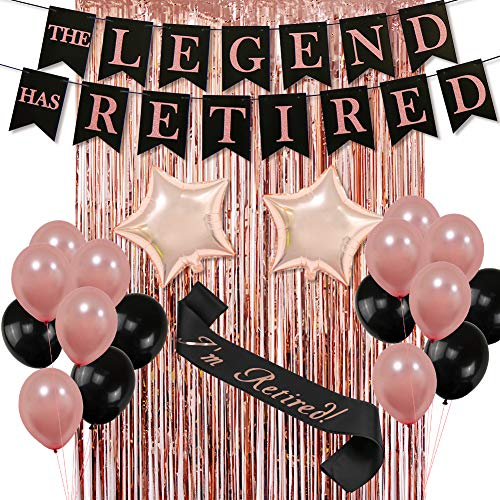 The Legend HAS Retired Party Decorative Banner, Rose Gold Backdrop Curtain Retired Sash Ideal for Retirement Party Decorations