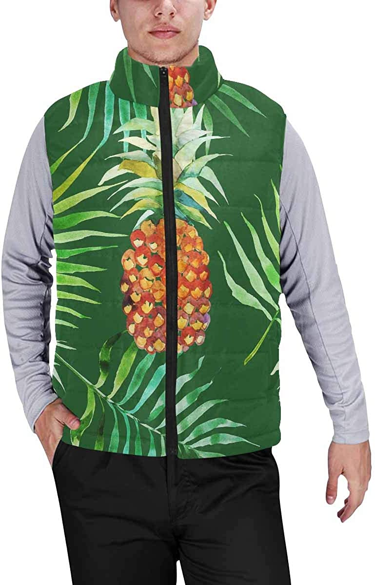 InterestPrint Casual Classic Quilted Sleeveless Vest for Men Watercolor Pineapple