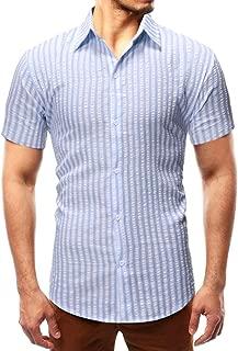 Qiyun Autumn Shirt Men Shirt Summer Stripe Lapel Short Sleeve Slim Male Casual Shirt Tops