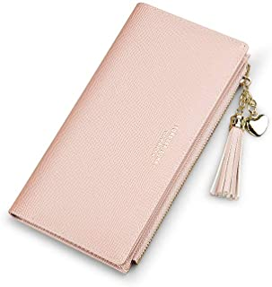Wallets For Women Card Holder Slim Wallet Coin Clutch Purse Organizer Cute Thin Leather Girl Ladies - Pink - Long