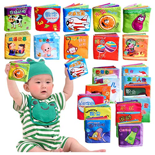 Fine Baby Tear-Resistant Soft Cloth Book, Baby Activity Crinkle Soft Books for Infants Boys and Girls Early Educational Toys (Multicolor)