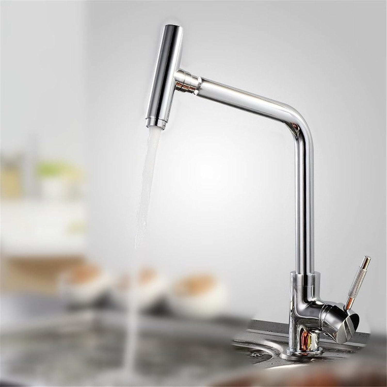 AOEIY Wasserhahn Küchen Mischbatterie Heie und kalte Rotation des Chrom kupfers einzelner Griff Waschtischarmaturen Mixer Spültisch Armatur Bad Spülbecken badezimmer Küchenarmatur