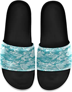 Turquoise Light Blue Camo Camouflage Mens Leather Slide Sandals Summer House Slippers Open Toe Boys