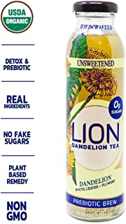 LION Organic Bottled Dandelion Tea   Prebiotic Tea Full of Antioxidants   Unsweetened   12 Pack
