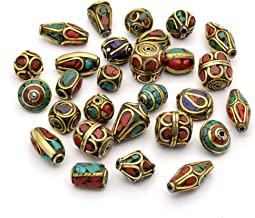 Craftdady 50Pcs Handmade Random Mixed 8-25x8-13mm Antique Golden Plated Tibetan Brass Spacer Charm Beads Kit Inlaid with Synthetic Turquoise Chips for DIY Jewelry Craft Making