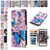 V-Ted Coque Housse Etui Samsung Galaxy S6 Edge Papillon Flip Case Cover Portefeuille PU en Cuir Silicone Bumper Pochette Luxe...