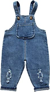 Kidscool Space Baby Toddler Ripped Holes Cotton Soft Jeans Overalls