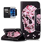 iPhone SE Case,iPhone 5S Case,iPhone 5 Case,ikasus Art Painted PU Leather Flip Wallet Pouch Stand Credit Card ID Holders Big Buckle Wallet Case for iPhone SE 5S 5,Pink Cherry Blossoms Flower Skull