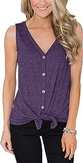 Women's Tie Front Button Down Shirts Summer Sleeveless Tank Tops