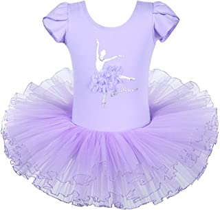 BAOHULU Leotard for Girls Ballet Dance Short Sleeve Full TulleTutu Skirted Dress Ballerina Costumes - Purple - 6-7 Years