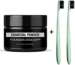 Natural Teeth Whitening Activated Charcoal Powder 1.05oz With 2 Pc Wheat Straw Toothbrush