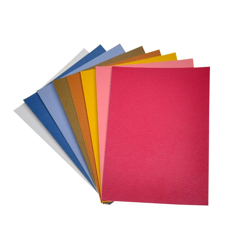Double Sided Litchi Grain Texture Synthetic Faux Leather Fabric Sheets 8 Pieces A5 Size 8