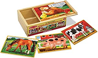 Melissa & Doug Farm Animals Puzzles in a Box   Puzzles   Wooden Toy   3+   Gift for Boy or Girl