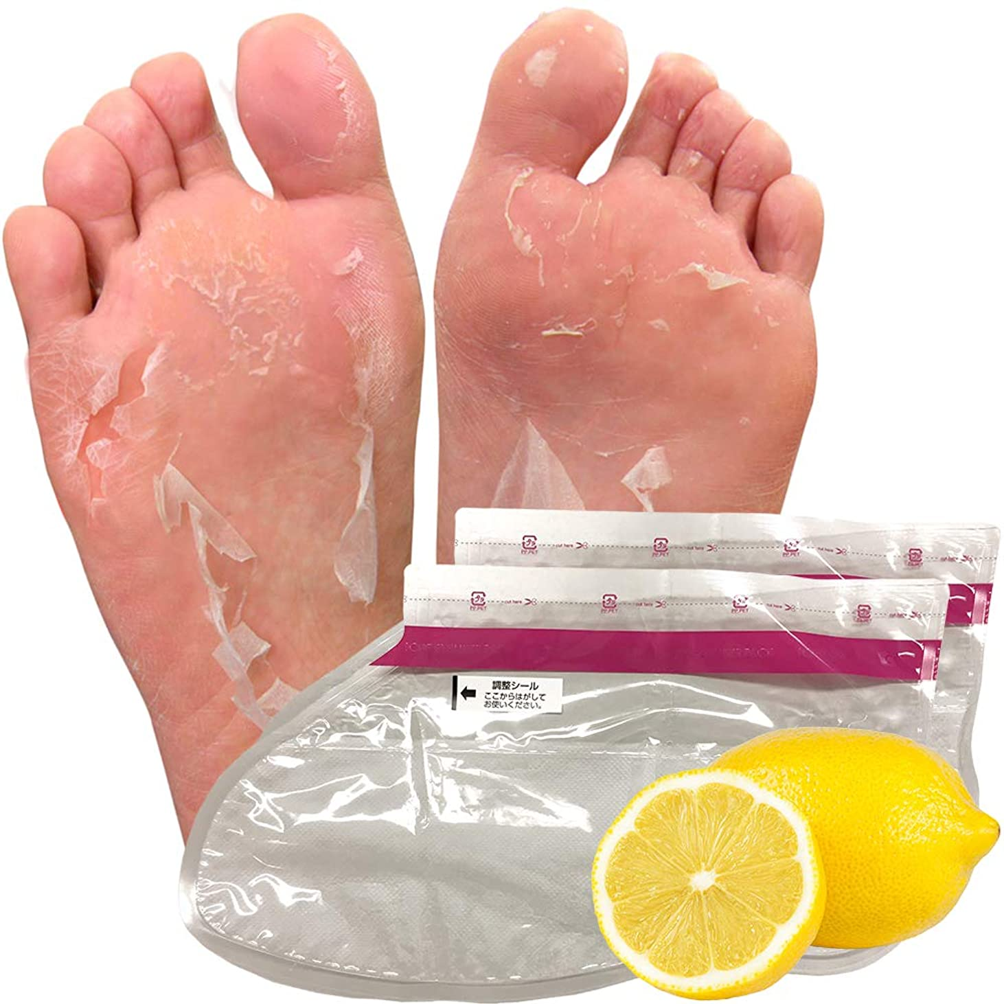 話をする見る人ぺディカブ【1回分】レモン フットピーリングパック ペロリン 去角质足 足膜 足の裏 足ぱっく