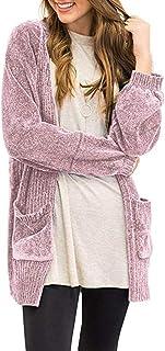 Asvive cardigan da donna morbido con bottoni a maglia sul davanti per la primavera tinta unita