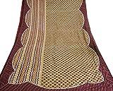 Vintage Inde Poly Crêpe Saree Craft Tissu Utilisé Deco main perlée Brown Sari