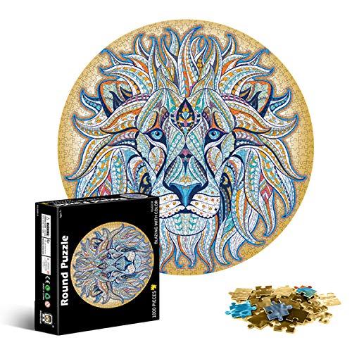 Galatée 1000 Piezas Redondo Puzzle Creativo Arco Iris Difícil Rompecabezas Grande Educativo El Alivio del Estrés Juguete para Adultos Niños (León)