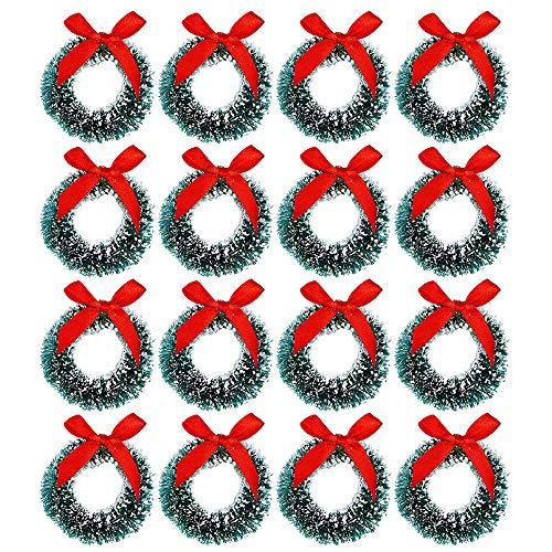Cotiny 18 Pack Mini Christmas Wreaths Artificial Christmas Wreath for Christmas Party Crafts and Decorations (Color Set 1)