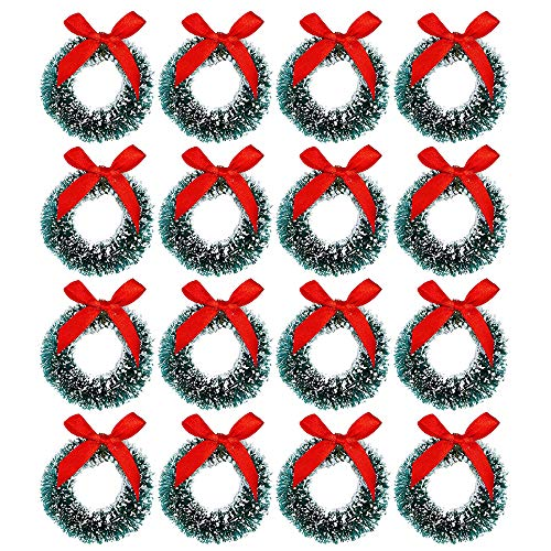 Cotiny 18 Pack Mini Christmas Wreaths Artificial Christmas Wreath for Christmas Party Crafts and Decorations (Color Set 1)