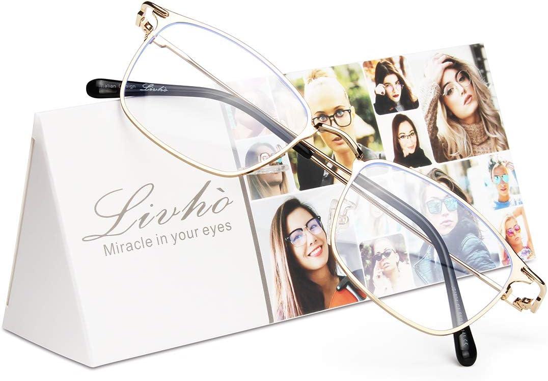 Livho Blue Light Blocking Glasses, Anti Glare UV Filter Square Metal Lightweight Computer Gaming Glasses for Women Men - LI1804 (Gold)