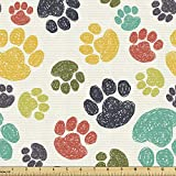 Ambesonne Dog Lover Fabric by The Yard, Hand Drawn Paw Print Doodles Circular Pattern Drawing Style Animal, Decorative Fabric for Upholstery and Home Accents, 5 Yards, Charcoal Beige