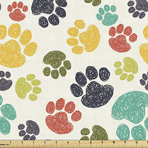 Ambesonne Dog Lover Fabric by The Yard, Hand Drawn Paw Print Doodles Circular Pattern Drawing Style Animal, Decorative Fabric for Upholstery and Home Accents, 3 Yards, Charcoal Beige