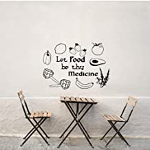 wsydd for Kitchen Restaurant Wall Decor Quote Let Food Be Thy Medicine Wall Stickers Fruit and Vegetable Art Decals Home Decor 56X78CM