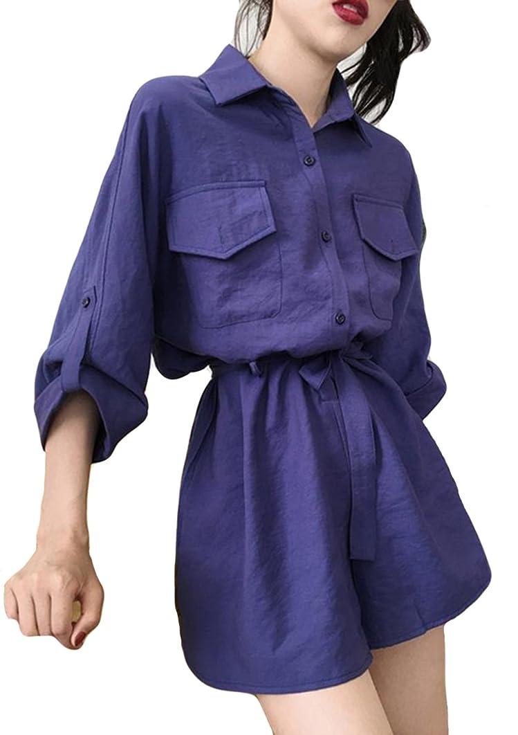 商業の退屈させる多様性レディース 連体ズボン 薄手 夏 秋 無地 無地 レディース シャツ ゆったり スーツ トップス ショートパンツ
