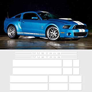 Charminghorse Side Door Rocker Stripes Hood Roof Trunk Front to Back Side Stripe Kit Vinyl Graphic Decal Stripes Sticker for 2015-2017 Ford Mustang (Gloss White)