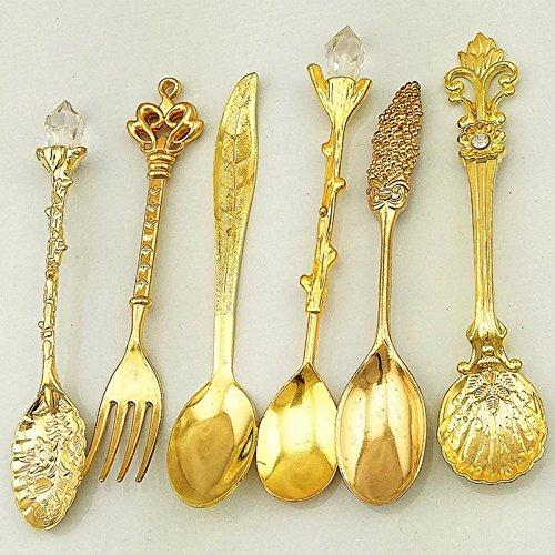 Royal antieke bestekset in Europese stijl, vintage granaatappel, bloem, gesneden koffie, thee, scoop, palace stijl, 6 stuks