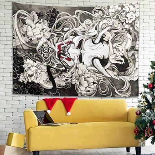 Tapisseries Vintage Japonés Hanya Flores Tinta Arte Impresión Arte Sala Decoración Divertida Blanco 150 x 130 cm