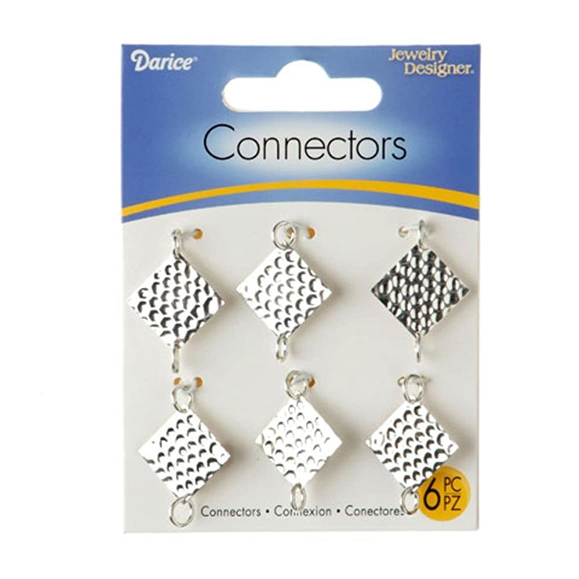 Darice 1999-5943 Jewelry Connectors-Silver Embossed Squares