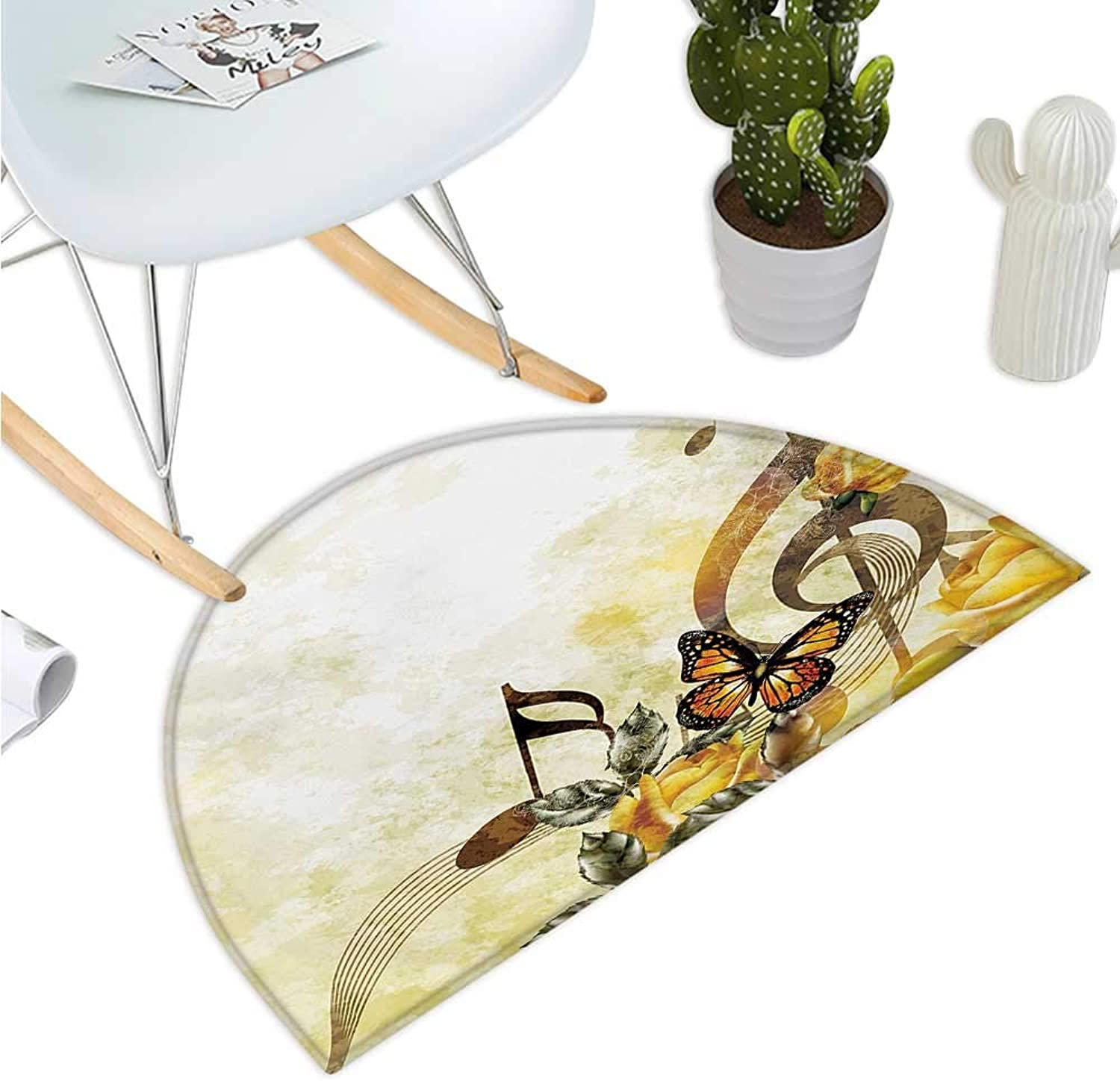 Music Semicircular Cushion Music pinks Romantic Antiquity Victorian Classic Bridal Floral Illustration Halfmoon doormats H 35.4  xD 53.1  Sepia and Yellow